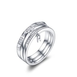 Wholesale Couples Beautiful - Ring Classic Simplicity Fashion Accessory Beautiful Diamon Men Women 925 Silver couple ring gift birthday Crystal jewelry NBR002