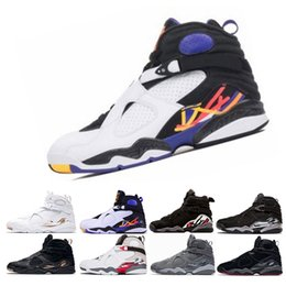 Wholesale chrome table - 2018 New 8 VIII men basketball shoes Aqua black purple Chrome Playoff red Three Peat Athletic sports sneakers size 8-13