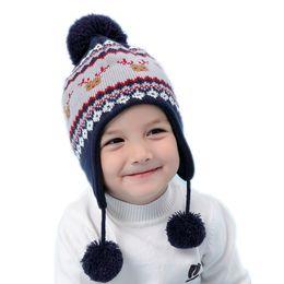 276d0c884ab 2019 geometric hat bambini bambino ragazzi geometrici stampa renna earflap  caldo pile cappello beanie lavorato a