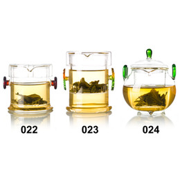 Wholesale heat tea pot set - Kinds of Handmade Double Handle Ears Small Heat Resistant Glass Tea Pot w  infuser & Lid Drop Shipping