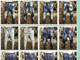 Wholesale painted jeans - In 2018, the new paint splashes ink splattered jeans male youth slim trousers and trousers of European and American fashions.