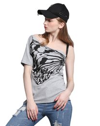 3ab404a1cfc934 4XL 5XL Plus Size Womens Clothing Summer Off Shoulder T-Shirt One Shoulder  Short Sleeve Butterfly Loose Solid Casual Top Tees