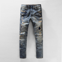 man lower pant Promo Codes - Balmain Men's Distressed Skinny Jeans Fashion Designer Mens Shorts Jeans Slim Motorcycle Biker Causal Mens Denim Pants Hip Hop