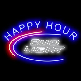 Wholesale bud sign light - Neon Signs Gift Bud Light Happy Hour Beer Bar Pub Store Party Homeroom Decor 19X15