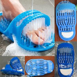 Wholesale shoe brush wholesale - New Easy Feet Bathroom Massage Slippers Clean Remove Dead Skin Brush Bath Foot Care Cleaner Feet Massage Shoe WX-T12