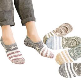 Calcetines a rayas de tobillo online-Pentagram calcetines invisibles para barcos boca baja hombres calcetines de algodón a rayas verano otoño antideslizante tobillo color contraste hombre calcetines