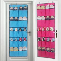 Wholesale Organize Homes - 125*45cm Newest Behind Doors Storage Bag 20 Pockets Non Woven Hanging Home Shoes Organizing Bag with Hooks Space Saver 4 Color XL-498