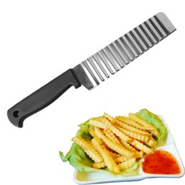 knives choppers Promo Codes - Potato French Fry Cutter Stainless Steel Kitchen Accessories Serrated Blade Easy Slicing Banana Fruits Potato Wave Knife Chopper