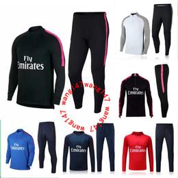 Wholesale adult sweater - 2017 2018 NEYMAR JR paris jacket Sweater MBAPPE soccer chandal football tracksuit adult training suit skinny pants Sports JACKET