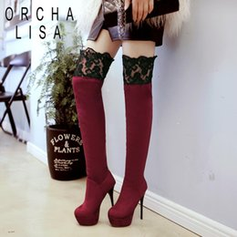 e44c4087a79 ORCHA LISA Big size 33-43 Super high heel Over the knee boots women shoes  lace boots Round toe Thin heels Warm fur velvet C496