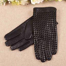 Wholesale Men S Fingerless Leather Gloves - Business Men Genuine Leather Gloves High Quality Goatskin Glove Autumn Winter Plus Thermal Velvet Fashion Woven Plaid EM019NC