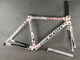 Wholesale Carbon Road Bike Frame 48 - Model of UD Glossy Red spots White C59 carbon road frames with BB68 48 50 52 54 56cm Bicycle Frameset free shipping