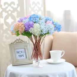 2019 mini fiori viola artificiali 10pcs / set Bella Realistic Light Purple Mini Hydrangea Artificiale finto Fiore Arrangiamento Camera Decorazione di nozze sconti mini fiori viola artificiali