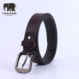 Wholesale Mens Grey Leather Belt - YAXIANG Male Genuine Leather Strap Designer Belts Men High Quality Mens LEATHER Belt For Man Luxury Brand Ceinture Homme