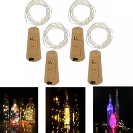 string shapes Promo Codes - 1M 10LED 2M 20LED Lamp Cork Shaped Bottle Stopper Light Glass Wine LED Copper Wire Strings Lights For Xmas Party Wedding Halloween