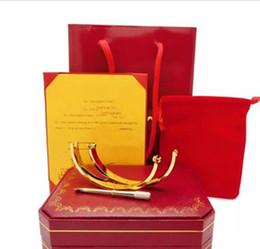 Wholesale Box Quality Bracelet - TOP quality love bracelet 316L titanium steel screw bangle with screwdriver for lover couple with original box set