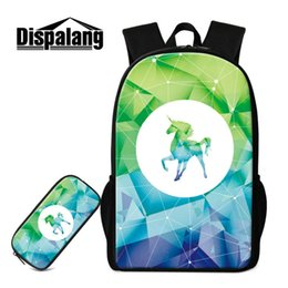 efe0f148be 2 PCS Set Backpack School Bag + Pencil Case Creative Design Unicorn Bookbags  For Teens Children Casual Shoulder Bags For Traveling Sac A Dos discount  teen ...