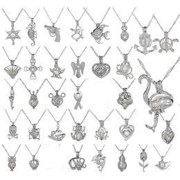 silberkäfig locket anhänger Rabatt Silberne Käfig-Anhänger-Halsketten-neue Liebes-Wunsch-natürliche Austern-Perlen-Mischung 50 Entwurfs-Mode-Höhlen-Locket Clavicle Chain Necklace Wholesale