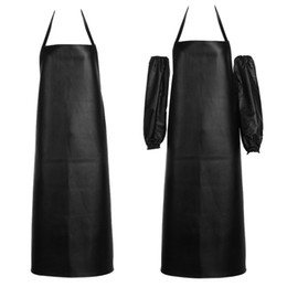 Wholesale chef waist aprons - 2017 Faux Leather Chef Apron Waterproof Restaurant Cooking Bib Apron Sleeveless Apron +Cuff Unisex For Men Household Tools