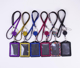 Wholesale Wholesale Rhinestone Neck Lanyards - Rhinestone Bling Lanyard Crystal Diamond Necklace neck strap with Horizontal Lined ID Badge Holder and Key Chain for Id key cell Phone