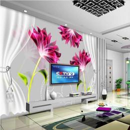 Wholesale Custom Living Room Curtains - Custom 3d mural 3D modern hand painted mural living room bedroom curtain TV room sofa background wallpaper
