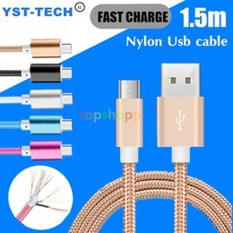 Wholesale High Quality Smart Phones - 1.5M Braided Micro USB Charging Cable For Smart Phones Samsung HTC Sony LG With Metal Aluminum Head Plug High Quality 100pcs