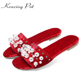 Wholesale Rainbow Heels - 2017 rainbow colors round peep toe women flats velvet big size slippers pearl beading sweet preppy style superstar sandals L00