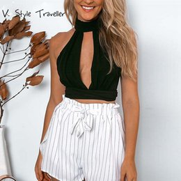 Wholesale Black Top Gypsy - Chiffon Backless Crop Top Women Cut Out Cropped Tank Tops Camis blusa Blouse Casual Sexy ropa mujer veste femme Boho Gypsy Tees