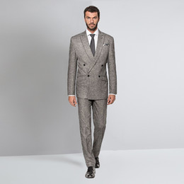 Rabatt Grau Tweed Hochzeit Anzug 2019 Grau Tweed Hochzeit Anzug Im