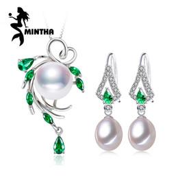 pulsera de perlas de plata esterlina Rebajas MINTHA 925 Sterling Silver natural conjuntos de joyas de rubíes de perlas para las mujeres, accesorios vintage pendientes largos, conjuntos de joyas de la boda