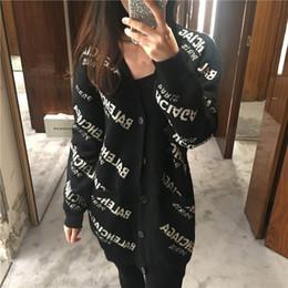 Wholesale Winter Fashion Cardigan - Brand Designer Women Wool Letter Jacquard Sweater 2018 Autumn Winter Fashion V Neck Single Breasted Casual Oversize Black Cardigan Loose Top