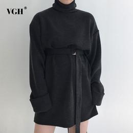 Wholesale Korean Women Dress Up - VGH Lace Up Women Dresses Turtleneck Batwing Sleeve Mini Dress Female Loose Top Korean Casual Clothes Fashion New Tide
