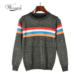 listra lurex Rebajas 2018 retro kawaii lurex suéter multicolor arco iris color banda tira femme suéter Blusas De Inverno Feminina Pullover C-211
