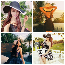 Wholesale Fold Straw Hats - Summer Wommen Sun Hat Fashion Black and white stripes summer hat Folded Sun Protection beach sunscreen straw hat LJJG23