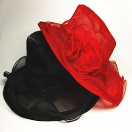 Red solar online-Playa ancha Brim Sombreros retros Estilo europeo Verano Mujeres Lana Hilo de malla Flor Sombrero de sol Tiempo de ocio Gorras de vacaciones Protección solar 14 5lz Y