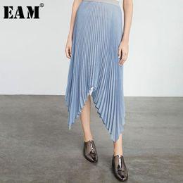 Wholesale irregular hem skirt - [EAM] 2018 New Summer High Elastic Waist Black Pleated Irregular Hem Half-body Skirt Women Fashion Tide All-match JF492