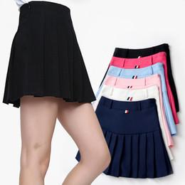 Saias de mulheres japonesas on-line-2018 Saias plissadas de verão moda feminina vintage saias de cintura alta curto plissado saia de tênis estudantes universitários japoneses vento saia slim