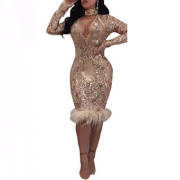 Wholesale See Through Feather Dresses - Sexy cut out bodycon sequin dress autumn winter see through mesh party club dresses women long sleeve feather dress