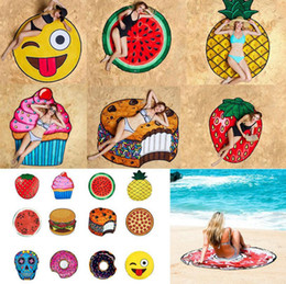 Wholesale Fruit Scarves - Round 3D Print Beach Towel Cute Food Fruit Pattern Printed Towel Donuts Hamburgers Shawl Scarf 10pcs OOA4704