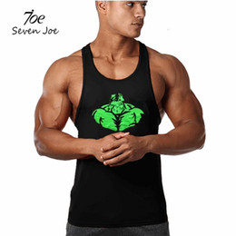 Wholesale Muscle Building Gym - Wholesale- Seven Joe.Men's Tank Tops Muscle Stringer New Cotton Body Building and Fitness GYMS fitness print Vests Clothing