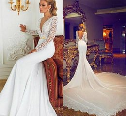 Wholesale Inbal Wedding Dress - 2018 New Inbal Dror Lace Long Sexy Mermaid Wedding Dresses With Sash Deep V-neck Long Sleeve Court Train Elegant Bridal Gowns Vestidos Cheap