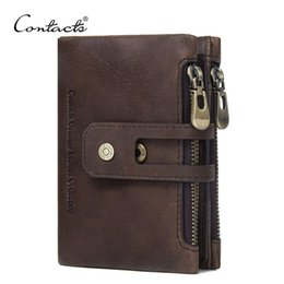 Wholesale Rfid Wallets - CONTACT'S Genuine Leather Men Wallet Small Men Walet Zipper&Hasp Male Portomonee Short Coin Purse Brand Perse Carteira For Rfid