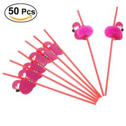 Wholesale flexible shower - 50pcs Cute 3d Flamingos Straw Flexible Plastic Drinking Straws Birthday Wedding Baby Shower Pool Party Decor Supplies