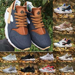 Wholesale Custom Shoe Boxes - (With Box)New Huarache ID Custom Breathe Running Shoes For Woman Men navy blue tan Air Huaraches Multicolor Sports Shoes 36-45
