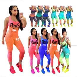 Wholesale wholesale printed tights - Love Pink Letter Gradient Outfit Sleeveless Tank Top Vest + Tights Pants Leggings Tracksuit Summer Women Sportswear Jogging Suits Plus Size