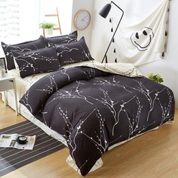 Wholesale Yellow Bedspreads Queen - Home textile bedding set black tree duvet cover queen bed sheet bedspread bed linen housse de couette morden bedding five size