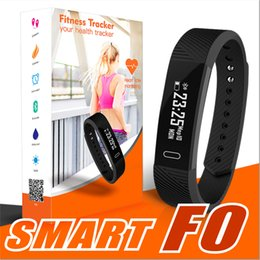 Wholesale Smart Vibration - ID115 F0 Smart Bracelets Fitness Tracker Step Counter Activity Monitor Band Alarm Clock Vibration Wristband for iphone Android phone