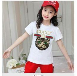 2019 nuevo diseñador de marca marca 2-9 años Bebés niños niñas Camisetas 2019 camisa de verano Tops algodón niños Camisetas niños Ropa 2 colores desde fabricantes