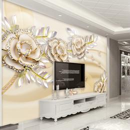 carta da parati rosa nera del fiore Sconti Carta da parati personalizzata Mural 3D Fashion Luxury Style europeo Golden Rose Leaves Wallpaper per pareti 3 D Hotel Living Room Home Decor