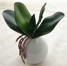 2019 lasciare l'orchidea artificiale Modelli esplosione di rete sentirsi phalaenopsis foglie di foglie di orchidea mini sentono fiori artificiali piante floreali GA69